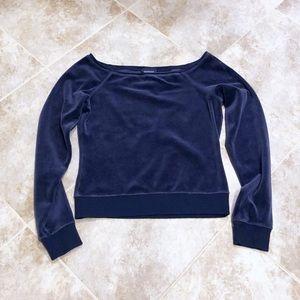 🆕 Express velour deep blue long sleeve crop top